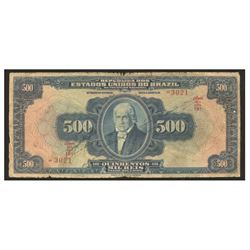 Brazil, Thesouro Nacional, 500 mil reis, no date (1918), estampa 12, series 19, serial 3021.