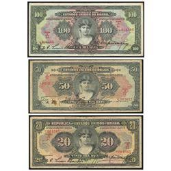 Lot of 3 Brazil notes from the Caixa de Estabilizacao: 100 mil reis, 18-12-1926, estampa 1, serial 0
