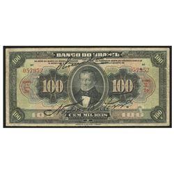 Brazil, Banco do Brasil, 100 mil reis, 8-1-1923, estampa 1 series 2, serial 057952.