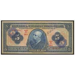 Brazil, Casa da Moeda overprint on Thesouro Nacional, 5 cruzeiros overprint on mil reis, no date (19