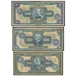 Lot of 3 Brazil, Casa da Moeda overprints on Thesouro Nacional: 500 cruzeiros overprint on mil reis,