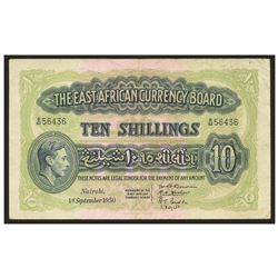 British East Africa, The East African Currency Board, 10 shillings, 1-9-1952, serial 56436.
