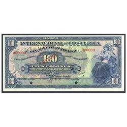 Costa Rica, Banco Internacional de Costa Rica, 100 colones specimen, no date (1924-1927), series A,
