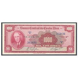 Costa Rica, Banco Central de Costa Rica, 1,000 colones, 4-4-1974, series A, serial 393831, certified