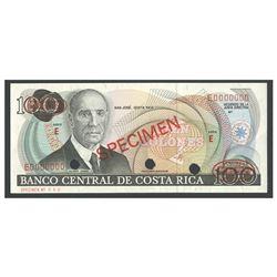 Costa Rica, Banco Central de Costa Rica, 100 colones specimen, no date (1975-1988), series E.