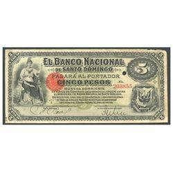 Dominican Republic, El Banco Nacional de Santo Domingo, 5 pesos, no date (1889), series E, serial 20