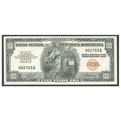 Dominican Republic, Banco Central de la Republica Dominicana, 100 pesos oro, no date (1947), serial
