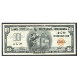 Dominican Republic, Banco Central de la Republica Dominicana, 100 pesos oro, no date (1956), serial