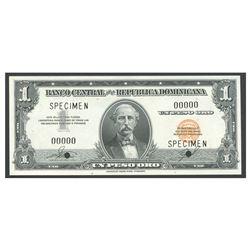 Dominican Republic, Banco Central de la Republica Dominicana, 1 peso specimen, no date (1962).
