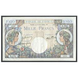 France, Banque de France, 1,000 francs, 6-4-1944, series H, serial 051357403.