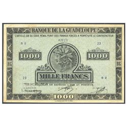 Guadeloupe, Banque de la Guadeloupe, 1,000 francs, no date (1942), serial S2 23, certified PCGS Very