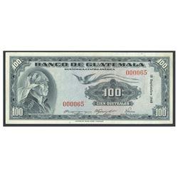 Guatemala, Banco de Guatemala, 100 quetzales, 15-9-1948, serial 000065, certified WBG Uncirculated 6