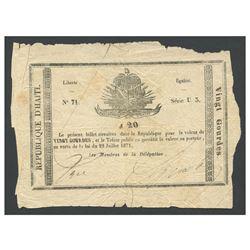 Haiti, Government du Sud d'Haiti, uniface 20 gourdes, 22-7-1871, series U3, serial 71.