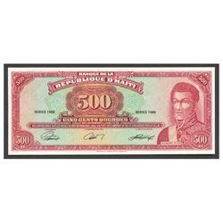 Haiti, Banque de la Republique d'Haiti, uniface 500 gourdes front proof, 1988, series 1988.