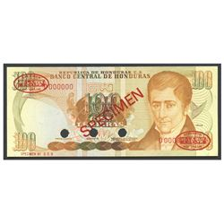 Honduras, Banco Central de Honduras, 100 lempiras specimen, no date (1980-1981), series D.