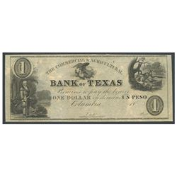 Mexico, The Commercial and Agricultural Bank of Texas (Coahuila), 1 peso / dollar remainder, no date