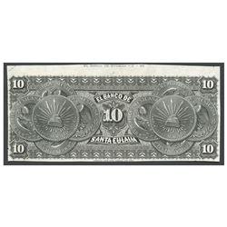 Mexico, El Banco de Santa Eulalia (Chihuahua), uniface 10 pesos reverse proof, no date (1882).