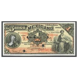 Mexico, El Banco Mexicano (Chihuahua), 1 peso specimen, 1888, series A.