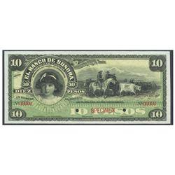 Mexico, El Banco de Sonora, 10 pesos specimen, no date (1897-1911), certified PMG Superb Gem Unc 67