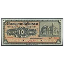 Mexico, El Banco de Tabasco, 10 pesos specimen, no date (1901-1903), series A, certified PMG Gem Unc