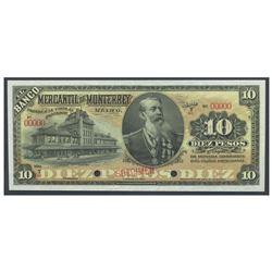 Mexico, El Banco Mercantil de Monterrey (Nuevo Leon), 10 pesos specimen, no date (1906-1911), series
