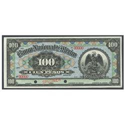 Mexico, El Banco Nacional de Mexico (Distrito Federal), 100 pesos specimen, no date (1913).