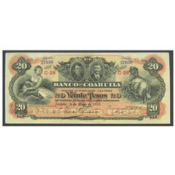 Mexico, El Banco de Coahuila, 20 pesos, 5-5-1912, series C-28, serial 27639.