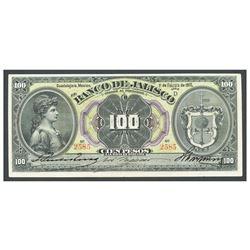 Mexico, El Banco de Jalisco, 100 pesos, 1-2-1910, series D, serial 2585.