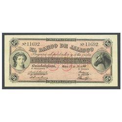 Mexico, El Banco de Jalisco, 50 centavos, 1-5-1914, serial 11692, Frampton Plate.