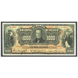 Mexico, El Banco Oriental de Mexico (Puebla), 1000 pesos, 14-2-1914, series 00. 444 CCCXII, serial 3