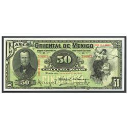Mexico, El Banco Oriental de Mexico (Puebla), 50 pesos, 14-3-1914, series QQ. 8 CCCXVI, serial 59663