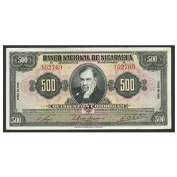 Nicaragua, Banco Nacional de Nicaragua, 500 cordobas, 1945, series 1945, serial 102769.