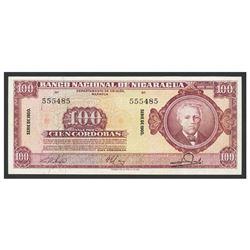 Nicaragua, Banco Nacional de Nicaragua, 100 cordobas, 1960, series 1960, serial 555485.