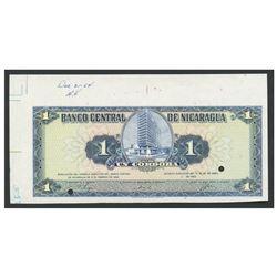 Nicaragua, Banco Central de Nicaragua, uniface 1 cordoba obverse proof, 26-4-1962.