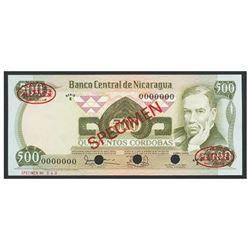 Nicaragua, Banco Central de Nicaragua, 500 cordobas specimen, no date (1979), series E.