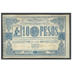 Paraguay, Tesoro Nacional, uniface 10 pesos, no date (1865), serial 8856.