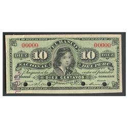 Peru, El Banco Nacional del Peru, 10 centavos specimen, 1-1-1873.