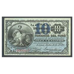 Peru, La Compania de Obiras Publicas, 10 centavos, 4-7-1876, series A, serial 999062.