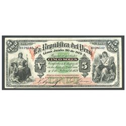 Peru, Junta Administradora, 5 soles, 30-6-1879, serial B128542.
