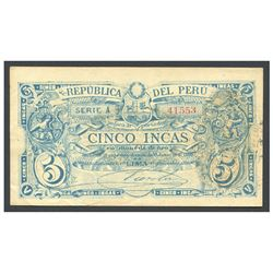 Peru, Junta Administradora, 50 soles overprint on 5 incas, 1881, series A, serial 41553.