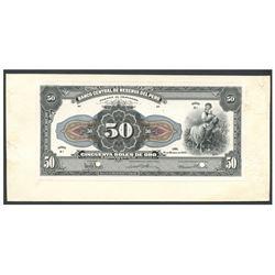 Peru, Banco Central de Reserva del Peru, uniface 50 soles de oro obverse proof, 31-3-1933, series B1