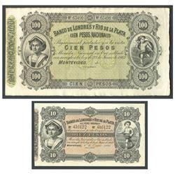 Lot of 2 Uruguay notes of Banco de Londres y Rio de la Plata: 100 pesos remainder, 23-6-1862, serial