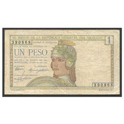 Uruguay, El Banco de la Republica Oriental del Uruguay, 1 peso Centenario issue, 18-7-1930, serial 3