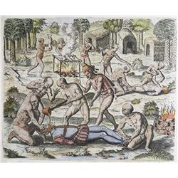 German copperplate engraving by Theodor de Bry, ca. 1613, showing native Americans dismembering and