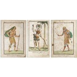 Lot of 3 French prints of Florida and California natives by Claude Louis Desrais and engraved by Jea