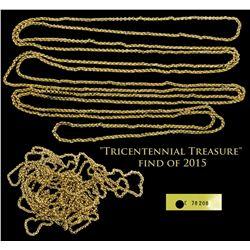 "1715 Fleet Complete gold plain-loop chain, 34.55 grams ""Tricentennial Treasure"" find of 2015."