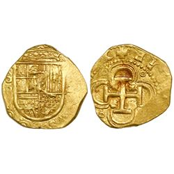 Seville, Spain, cob 2 escudos, Philip II, assayer B, O(MNIVM) in legend.