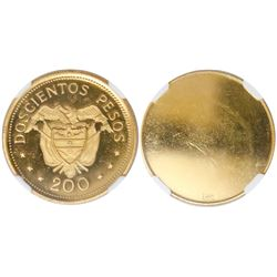 Bogota, Colombia, gilt brass reverse trial, proof 200 pesos, Eucharistic Congress (1968,  pope set )