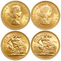 Lot of 2 Great Britain (London, England) sovereigns, Elizabeth II, 1958 and 1963.
