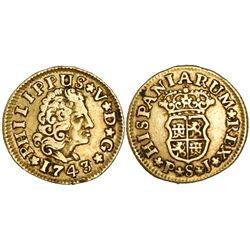 Seville, Spain, bust 1/2 escudo, Philip V, 1743PJ.